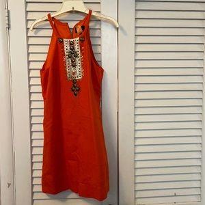 Blood Orange Embellished Halter Mini Dress